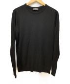 JOHN SMEDLEY(ジョンスメドレー)の古着「メリノウールクルーネックニット」|ブラック