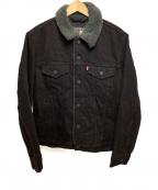 LEVIS()の古着「シェルパデニムジャケット」|ブラック×グレー
