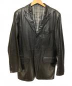BURBERRY BLACK LABEL(バーバリーブラックレーベル)の古着「3Bラムレザージャケット」 ブラック