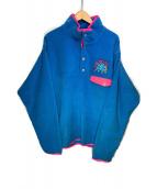 ()の古着「フリースジャケット」 ブルー×ピンク