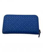 BOTTEGA VENETA(ボッテガベネタ)の古着「ラウンドジップ長財布」|ブルー