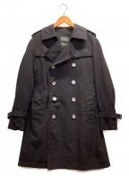 SANYO(サンヨー)の古着「クラシックダブルトレンチコート」|ブラック