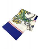 ()の古着「スカーフ」 ブルー×ベージュ
