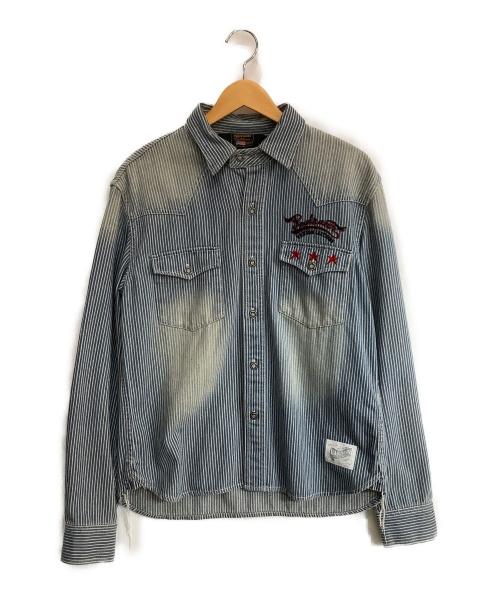 VANSON(バンソン)VANSON (バンソン) デニムシャツ インディゴ サイズ:L ストライプの古着・服飾アイテム