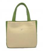 KITAMURA(キタムラ)の古着「ハンドバッグ」 ベージュ×グリーン