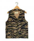 Trophy Clothing(トロフィークロージング)の古着「タイガーストライプベスト」 グリーン×ブラック