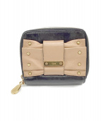 ()の古着「2つ折り財布」 ブラック×ベージュ