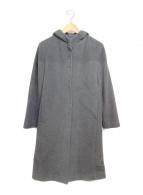 ()の古着「アンゴラ混フーデッドロングコート」 グレー