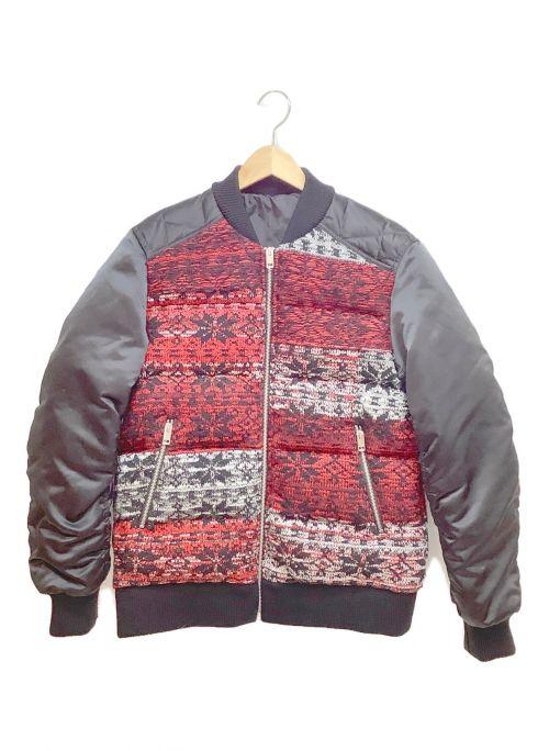 DIESEL(ディーゼル)DIESEL (ディーゼル) ニット切替ダウンジャケット ブラック×レッド サイズ:XSの古着・服飾アイテム