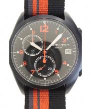 HAMILTON(ハミルトン)の古着「カーキ パイロットパイオニアクロノグラフ ■腕時計」|ブラック×オレンジ