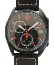 HAMILTON(ハミルトン)の古着「カーキ パイロットパイオニアクロノグラフ/クォーツ ■腕時計」|ブラック