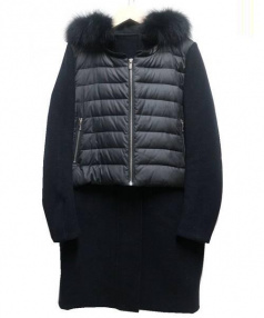 DOUBLE STANDARD(ダブルスタンダード)の古着「ダウン切替フーデッドコート」 ブラック