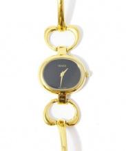GUCCI(グッチ)の古着「クォーツ腕時計」|ブラック×ゴールド
