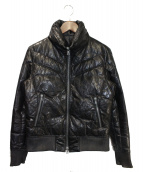 ISAMU KATAYAMA BACKLASH(イサムカタヤマ バックラッシュ)の古着「レザーダウンジャケット」|ブラック
