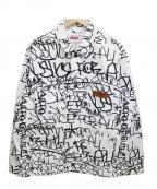 Supreme×COMME des GARCONS SHIRT(シュプリーム × コムデギャルソンシャツ)の古着「Printed Canvas Chore Coat」 ホワイト×ブラック