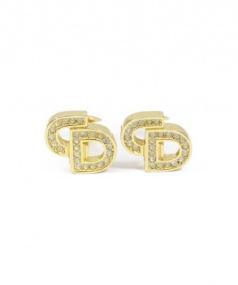 Christian Dior(クリスチャンディオール)の古着「CDモチーフ ラインストーンイヤリング」|ゴールド