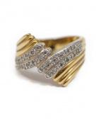 K18 & Pave Diamond Ring(ゴールドアンドパヴェダイアモンドリング)の古着「パヴェダイヤリング」|ゴールド×シルバー