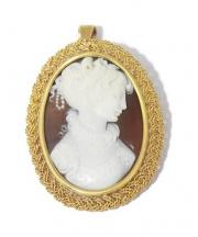 CAMEO/ Brooch/Pendant(カメオ/ブローチ/ペンダントトップ)の古着「ストーンカメオ」|ゴールド