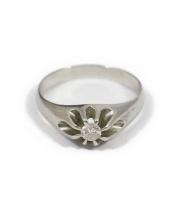 Pt900 & Diamond Ring(プラチナダイアモンドリング)の古着「デザインカットリング/プラチナリング」|シルバー