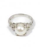 Pt900 Pearl and Diamonds Ring(パールダイヤモンド付プラチナリング)の古着「パールダイヤモンド付プラチナリング」|シルバー