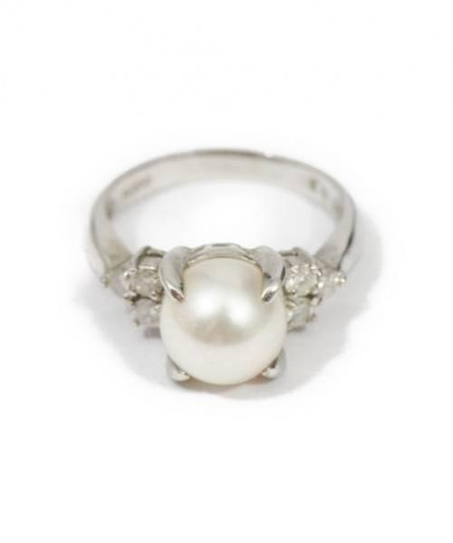Pt900 Pearl and Diamonds Ring(パールダイヤモンド付プラチナリング)Pt900 Pearl and Diamonds Ring (パールダイヤモンド付プラチナリング) パールダイヤモンド付プラチナリング シルバー Pt900 8.5gの古着・服飾アイテム