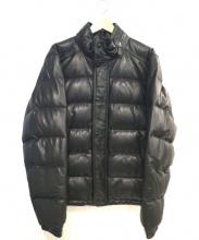 COACH(コーチ)の古着「レザーダウンジャケット」|ブラック