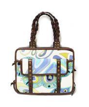 Emilio Pucci(エミリオプッチ)の古着「キャンバスハンドバッグ」|ホワイトブルー