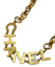 CHANEL(シャネル)の古着「ゴールドチェーンロゴベルト」|ゴールド