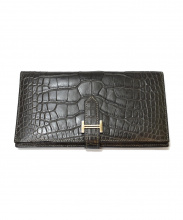 HERMES(エルメス)の古着「ベアン/アリゲーターマット/長財布」|グレー