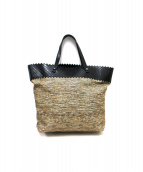 BOTTEGA VENETA(ボッテガベネタ)の古着「イントレチャート切替トートバッグ」|ブラック×ブラウン