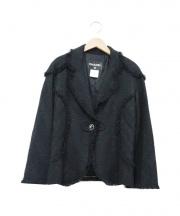 CHANEL(シャネル)の古着「フリンジラペルツイードジャケット」|ブラック