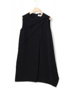 ENFOLD(エンフォルド)の古着「タックドレープワンピース」|ブラック