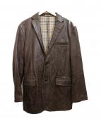 BURBERRY BLACK LABEL(バーバリーブラックレーベル)の古着「レザーテーラードジャケット」 ダークブラウン