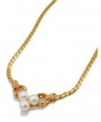 Pearl necklace diamond0.11ct(パールネックレス)の古着「パールネックレス」