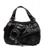 Christian Dior(クリスチャンディオール)の古着「ガウチョ エナメルハンドバッグ」|ボルドー