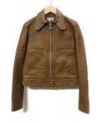 CARVEN(カルヴェン)の古着「レザージャケット」|ベージュ