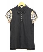 BURBERRY BRIT(バーバリーブリット)の古着「袖ギャザーポロシャツ」|ブラック