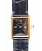 Cartier(カルティエ)の古着「マストタンクS」|ブラックローマンゴールドインデックス