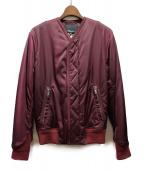 3.1 phillip lim(スリーワン・フィリップ・リム)の古着「ノーカラー中綿ジャケット」|ワインレッド