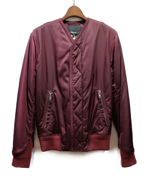 3.1 phillip lim(スリーワン・フィリップ・リム)3.1 phillip lim (スリーワン・フィリップ・リム) ノーカラー中綿ジャケット ワインレッド サイズ:XSの古着・服飾アイテム