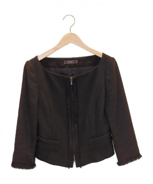 FOXEY(フォクシー)FOXEY (フォクシー) ツイードジャケット ブラック サイズ:38の古着・服飾アイテム