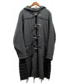 UNDERCOVER(アンダーカバー)の古着「ヘリンボーンカットオフダッフルコート」|グレー