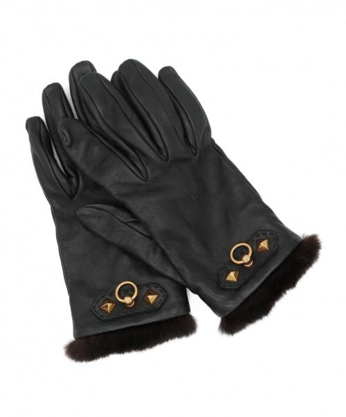HERMES(エルメス)HERMES (エルメス) ファー付レザーグローブ ブラック サイズ:6 1/2 ゴールド金具の古着・服飾アイテム