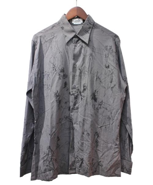 HERMES(エルメス)HERMES (エルメス) 総柄シャツ ブラック サイズ:39 馬柄 コットンの古着・服飾アイテム
