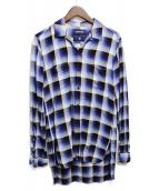MIHARA YASUHIRO(ミハラヤスヒロ)の古着「ロングチェックシャツ」|ブルー