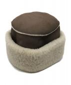 HERMES(エルメス)の古着「帽子/ムートンレザーハット」|ブラウン
