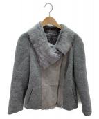 ARMANI COLLEZIONI(アルマーニコレツォーニ)の古着「ムートン切替ライダースジャケット」|グレー
