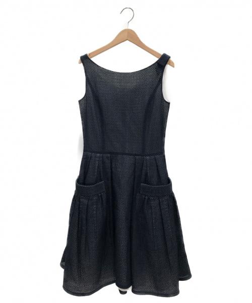 FOXEY(フォクシー)FOXEY (フォクシー) メッシュワンピース ネイビー サイズ:40の古着・服飾アイテム