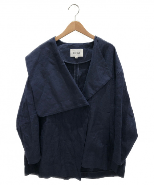 ENFOLD(エンフォルド)ENFOLD (エンフォルド) リネンジャケット ネイビー サイズ:36 リネン100%の古着・服飾アイテム