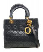 Christian Dior(クリスチャンディオール)の古着「2WAYショルダーバッグ/レディーディオール」 ブラック